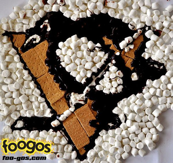 "Pens were one of 22 NHL team logos that have been re-created with food and immortalized as ""Foogos"""