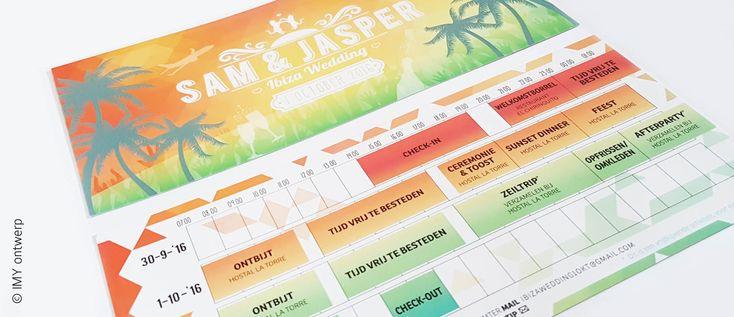 © IMY ontwerp | Timeline timetable Ibiza festival wedding invitation | Tijdlijn trouwkaart met timetable voor festival wedding in Ibiza