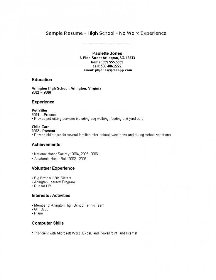 002 Template Ideas High School Student Resume With No Work Work Experience Resume Student Resume