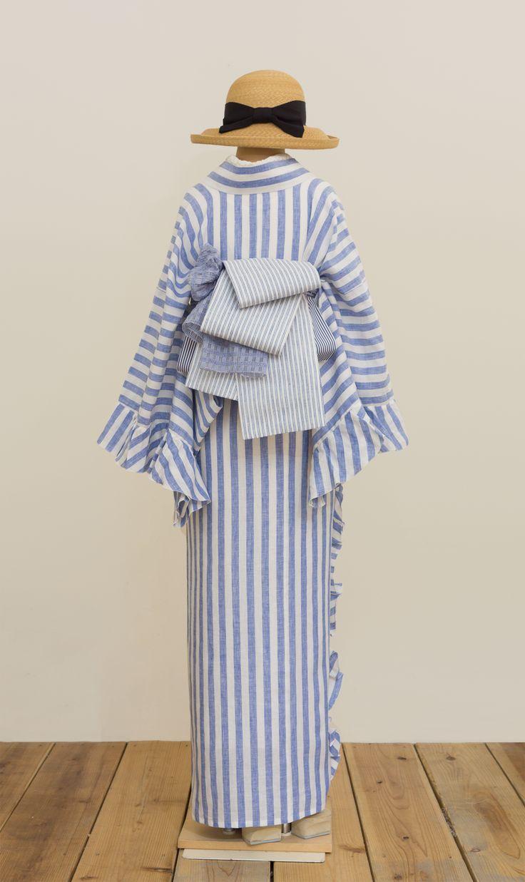 フリル着物(リネン・ボールドストライプ)   着物、浴衣 さく研究所