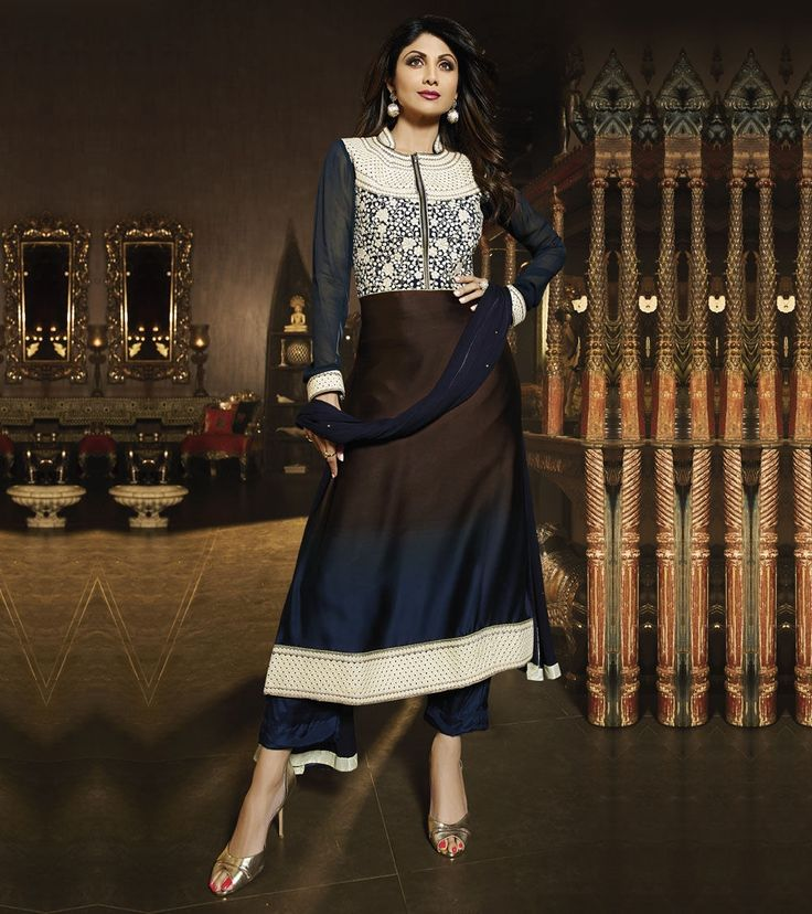 #Black & #Blue #Georgette Embroidered Unstitched #Salwar #Kameez by #Chhabra #Bros at #Indianroots