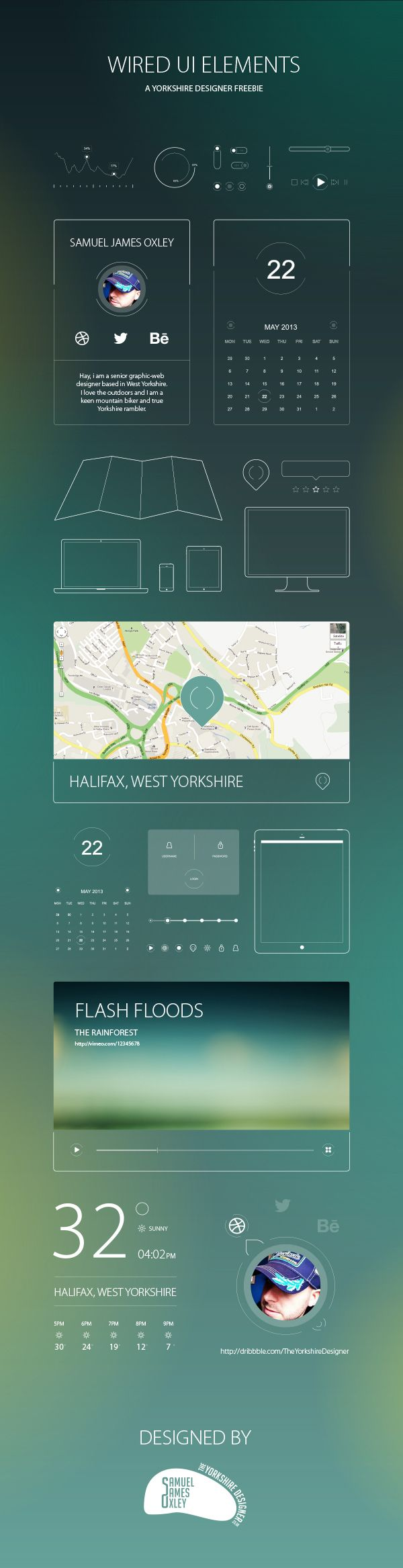 Wired UI Elements by Samuel James Oxley, via Behance