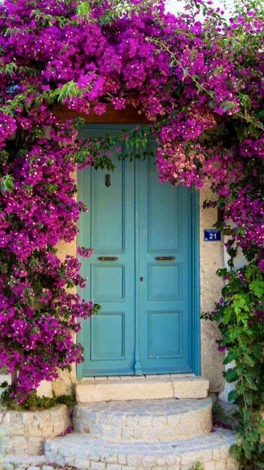 Striking front door in turquoise
