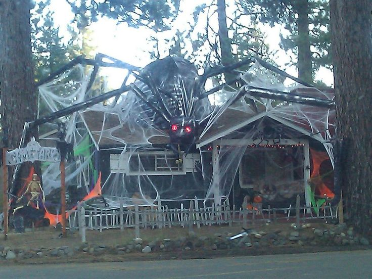 awesome decorated house for halloween thats a lot of work just to keep - Giant Spider Halloween Decoration