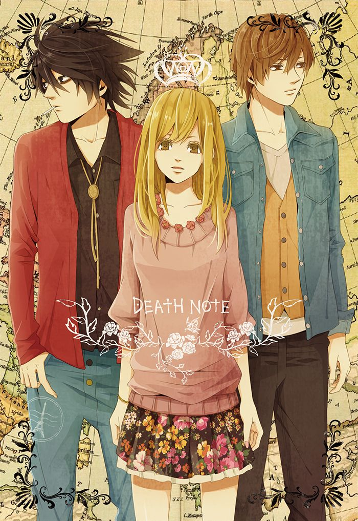 L, Misa, and Light ~ Death Note... I hate Misa but the picture is still pretty cool