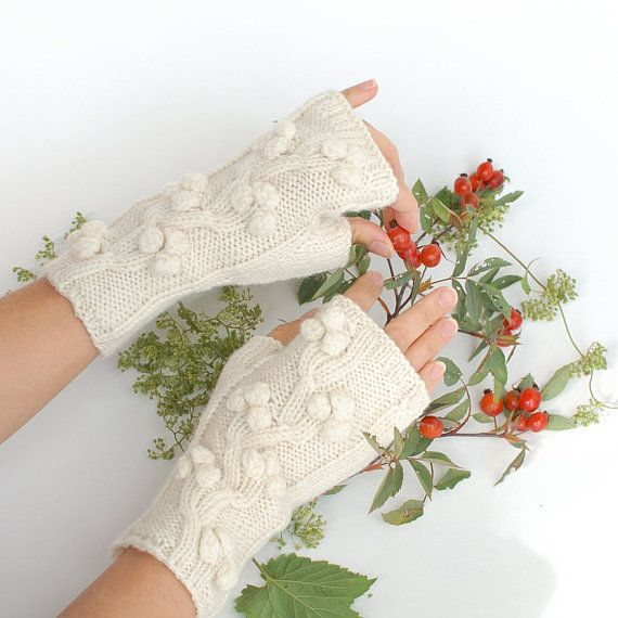 Fingerless mittens wrist warmers Fall accessories  by KnittedLT