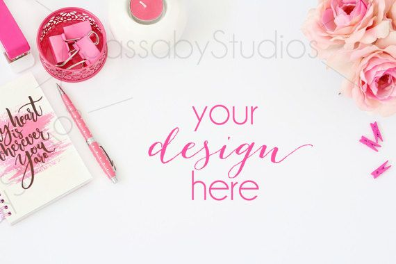 Hot Pink Desk Styled Stock Photography / Product by SassabyStudios