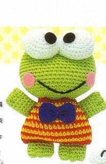 Patrones de crochet gratis: Keroppi amigurumi a crochet                                                                                                                                                      Más
