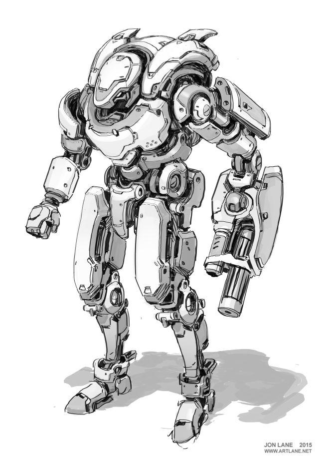 jon lane sci fi concept art mech robot
