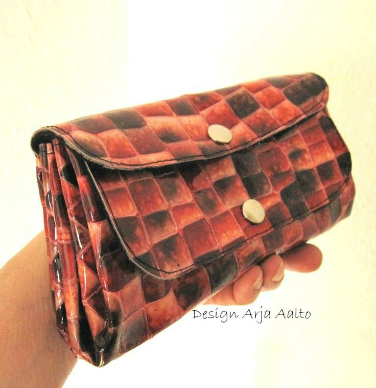 Red leather purse.