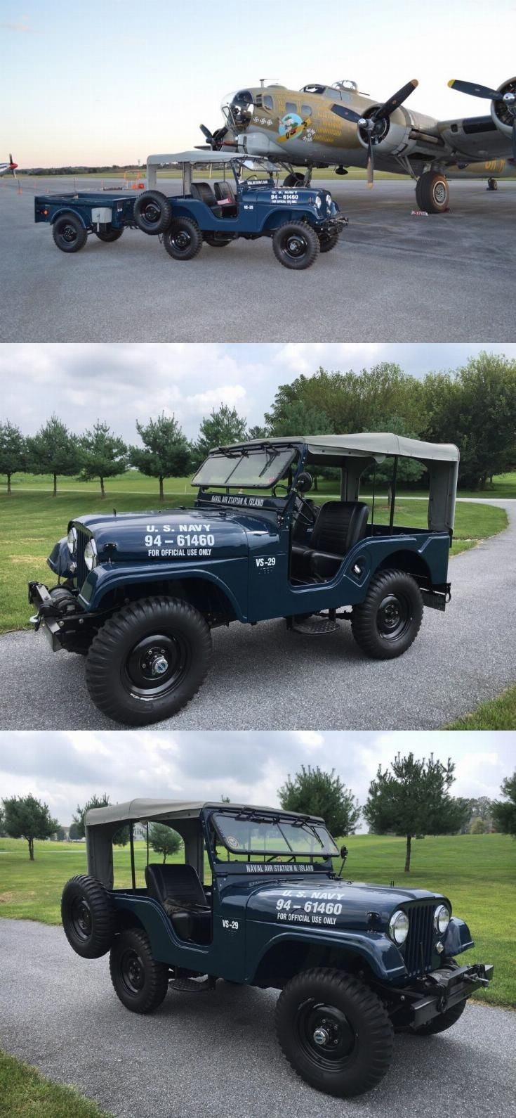 1958 Willys Jeep Cj 5 Us Navy And M100 Trailer Willys Jeep Jeep