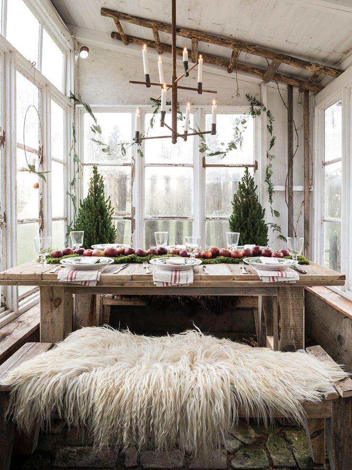 The Little Hermitage : Love this rustic table and furry bench for a kitchen or diningroom