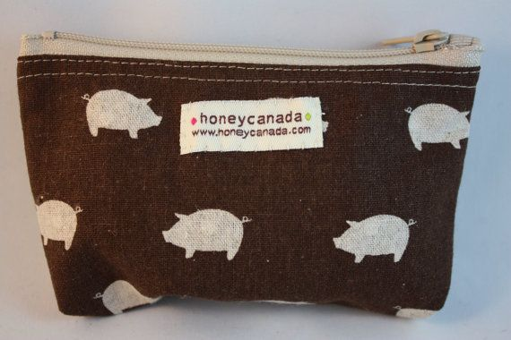 Japanese cotton fabric hand made zipper pouch brown by HoneyCanada, $10.00