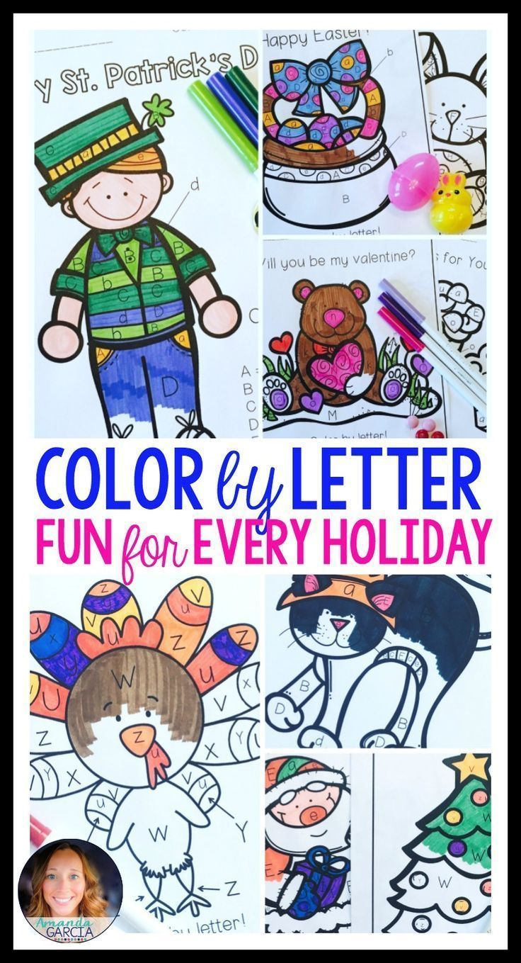 These color by letter pages are just what you need to teach and reinforce letter recognition in your preschool and kindergarten classroom! The coloring sheets are fun for kids during each major holiday season - Back to School, Halloween, Thanksgiving, Christmas, Valentine's Day, St. Patrick's Day, and Easter!