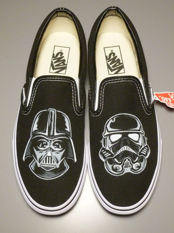 Custom Vans Star Wars Darth Vader Stormtrooper Handpainted Shoes Slip-On