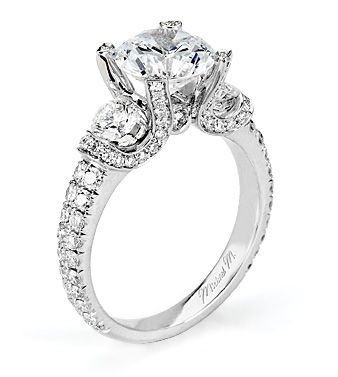 From Michael M. Collection Michael M Handcrafted pave and u -set three stone ring with bezel accent