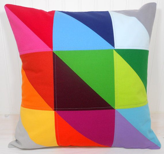 Pillow Cover - 18 x 18 Inches - Rainbow Patchwork Triangles