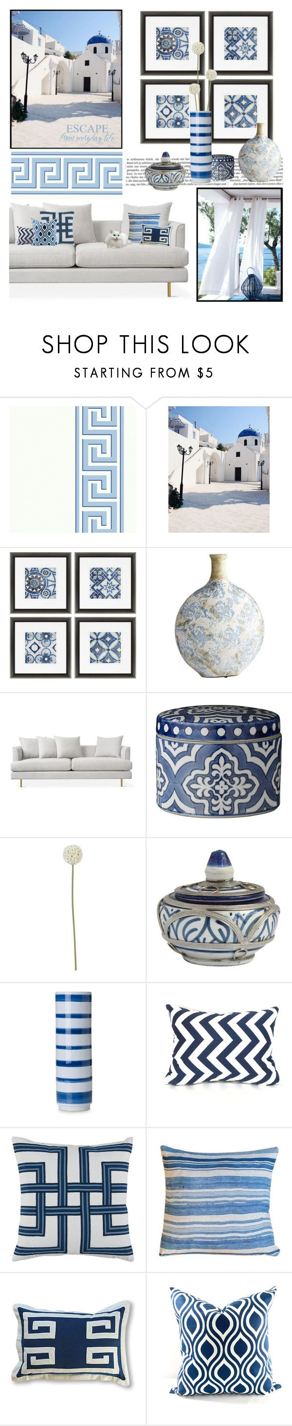 """Greek Isles Inspired . . . ."" by kateo ❤ liked on Polyvore featuring interior, interiors, interior design, home, home decor, interior decorating, GAS Jeans, Home Decorators Collection, Cyan Design and Lene Bjerre"
