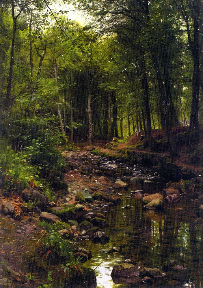 Peder Mørk Mønsted – private collection. Skovstraekning/Woodland Landscape…