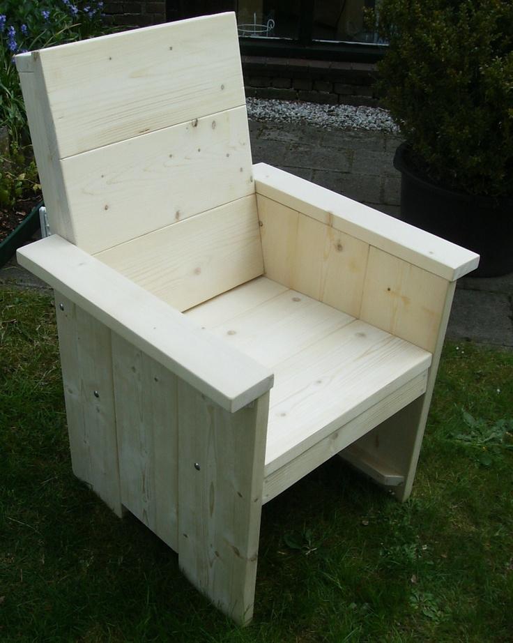 Steigerhouten fauteuil met hoge rug