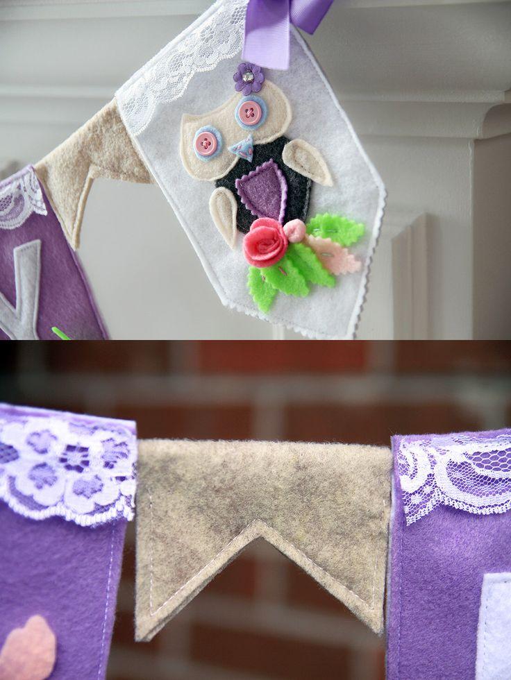 Felt Name Banner, Owl Nursery Decor, Owl Girl Nursery Bunting, Owl Banner Bunting, Baby Name Banner, Owl Banner, Baby Owl Decor, Owl by HouseOfLaylayt on Etsy https://www.etsy.com/listing/217951195/felt-name-banner-owl-nursery-decor-owl