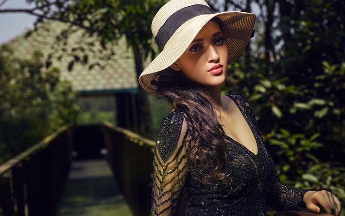 Download wallpapers Neha Shetty, bollywood, young indian actress, photoshoot, black dress, woman in hat