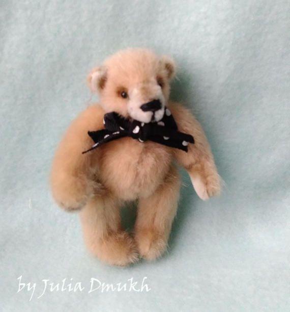 OOAK Art toy Teddy bear toy Soft teddy bear toy Stuffed toy Handmade teddy to order miniature bear 2.75 inches
