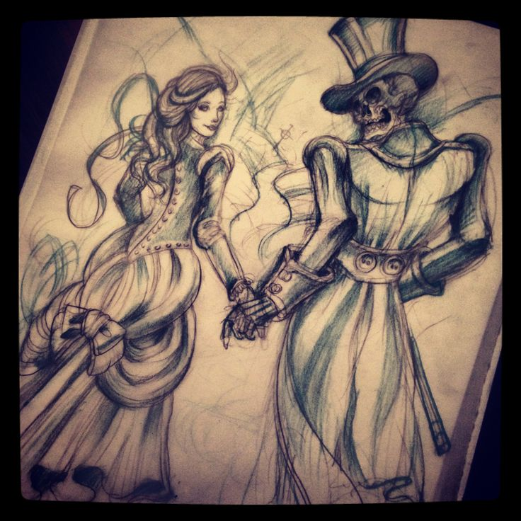 Skeleton/grim Reaper Walking With Victorian Style Woman