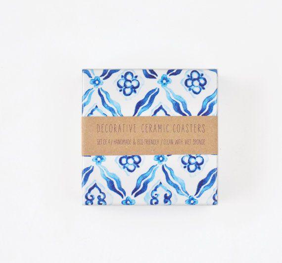 Tile Coasters Blue Watercolor Greek Pattern on White Mykonos Blue Ceramic Gift, set of 4 on Etsy, $27.00
