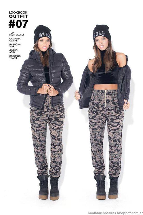 47 Street otoño invierno 2014 babuchas militares, enteritos y pantalones.
