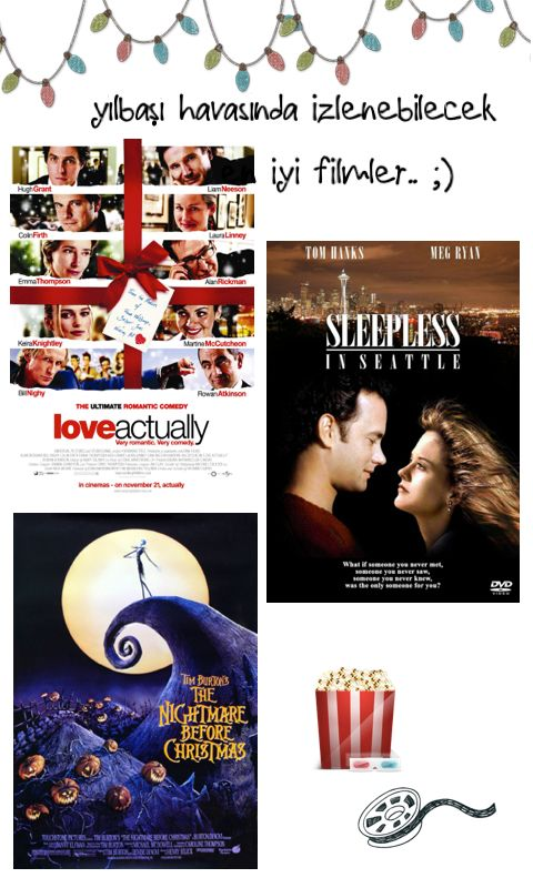 Veee Cuma akşamı film keyfi yapacak Kasabalı'lara.. yılbaşı havasına bürünmek için izlenebilecek en iyi filmleri sıraladık.. seçimi sana bıraktık ;) a) Aşk Her Yerde [Love Actually]  b) Noel Gecesi Kabusu [The Nightmare Before Christmas] c) Sevginin Bağladıkları [Sleepless in Seattle] #filmönerisi #film #sinema