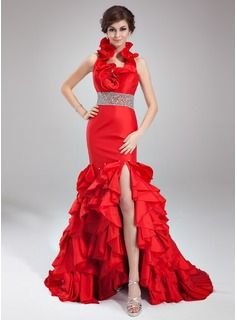 Special Occasion Dresses - $210.99 - Trumpet/Mermaid Halter Court Train Taffeta Prom Dress With Beading Split Front Cascading Ruffles  http://www.dressfirst.com/Trumpet-Mermaid-Halter-Court-Train-Taffeta-Prom-Dress-With-Beading-Split-Front-Cascading-Ruffles-018021082-g21082