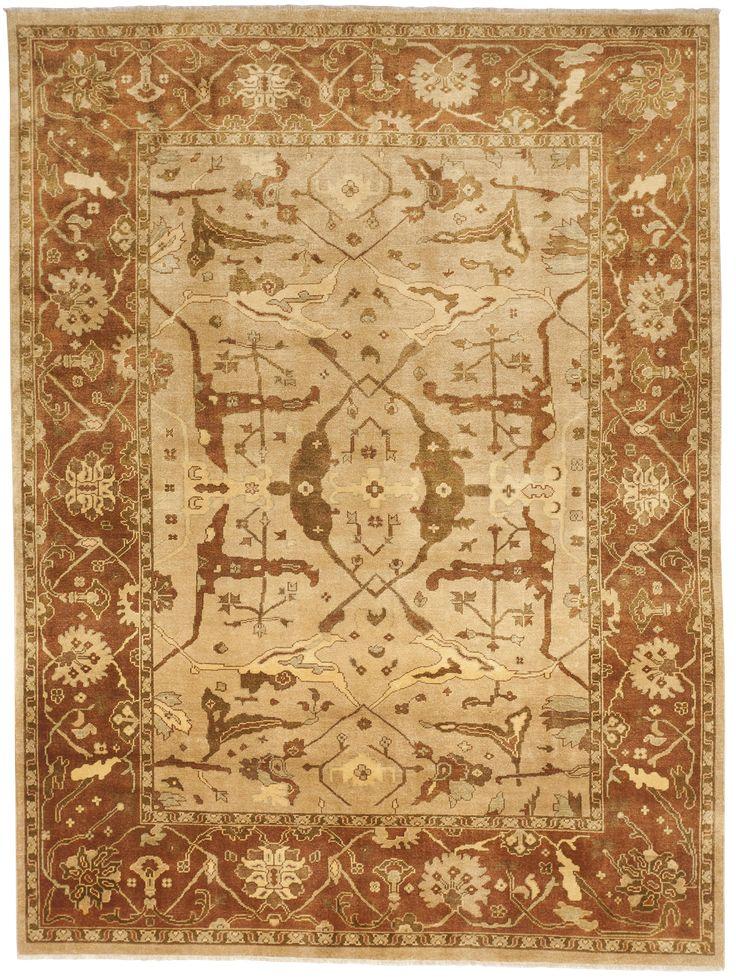 """Handmade Indian Rug of Oushak Design - 8'10"""" x 11'10"""""""