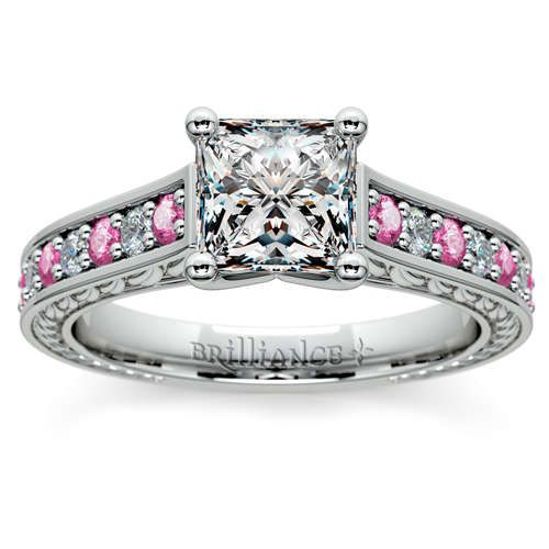 Discover diamond sparkle with a sweet pink twist: The Antique Diamond and Pink Sapphire Gemstone Engagement Ring in sleek Platinum, featuring a Princess-cut center diamond!  http://www.brilliance.com/engagement-rings/antique-diamond-pink-sapphire-gemstone-ring-platinum