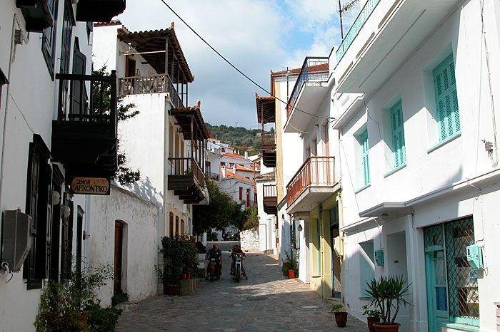 Skopelos town street, Greece
