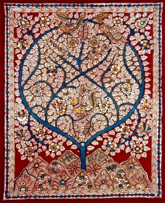 Tree of Life painting on cloth, Madhubani style, India
