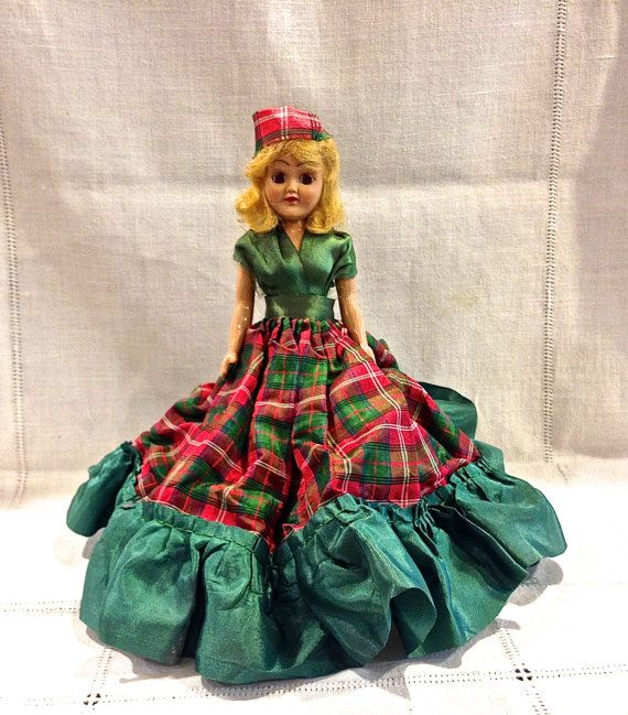 Duchess Doll Corp, Dolls of All Nations, Scottish Lassie, Hard Plastic 8 inch Sleepy Eye Doll, Jointed Arms, Frozen Legs, Circa 1940s