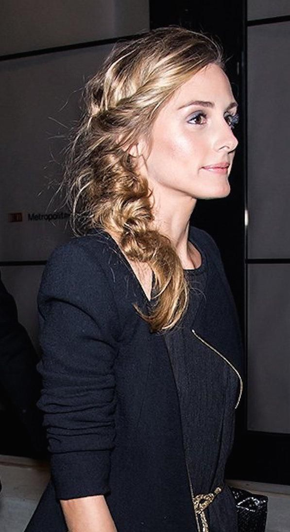 Olivia Palermo steps out with a gorgeously coiled side braid
