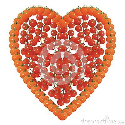 #heart shape made of #tomatoes and cherry truss tomatoes on a white background.