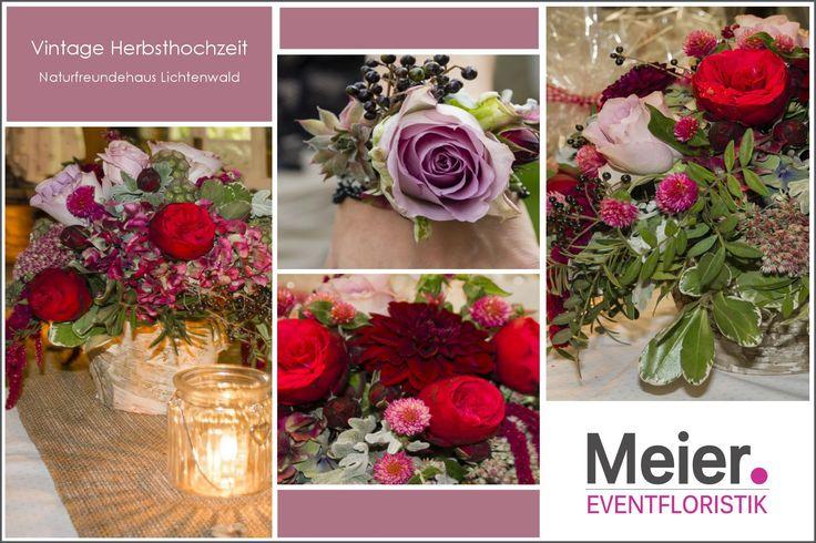 Vintage Hochzeit – Tischdekoration und Armband mit Rosen und Dahlien   – Blumenkonzepte für Eure Hochzeit