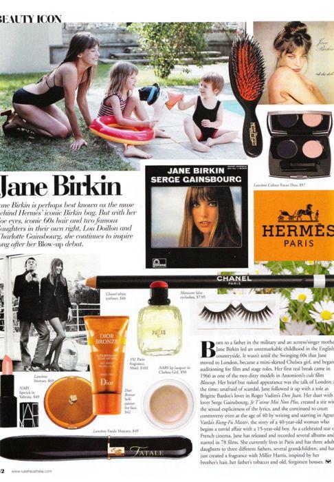 Jane Birkin Beauty Icon in RUSSH Australia