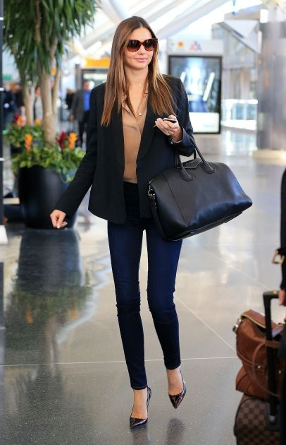 Miranda Kerr departs NYC via JFK Airport in NYC. #airport #celebrity #style #fashion #model #travel #looks