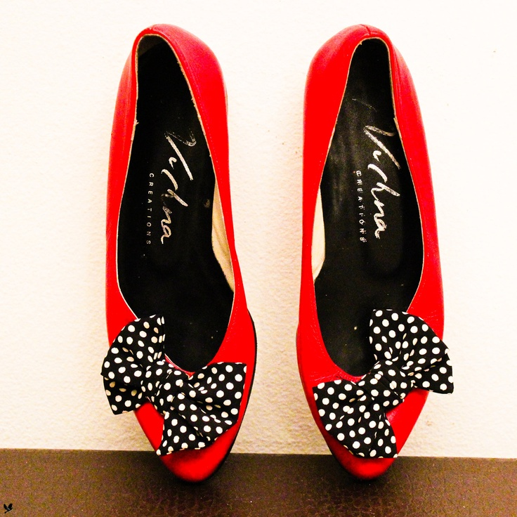 RED Flats with Polka Dot BOWS, Red Ballet Flats, Slip on Red Shoes. $43.00, via Etsy.
