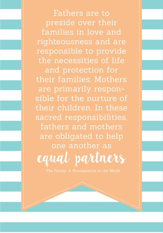 How do the roles of men and women complement each other in families?  LDS YW Lesson Handouts and Printables