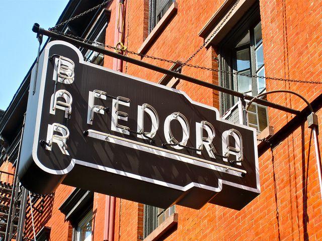 lights & type sign Bar Fedora, NY