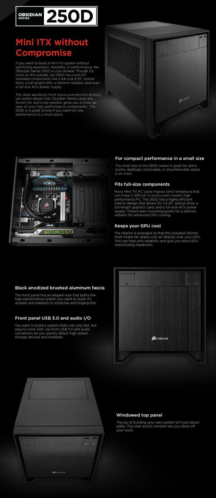 Corsair Obsidian Mini ITX Case Available To Buy Online From PC Gear Australias Premier Store