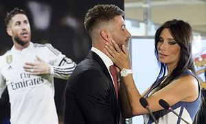 Sergio Ramos and his wife Pilar Rubio at the announcement the defender will be staying at Real Madrid and not moving to Manchester United.