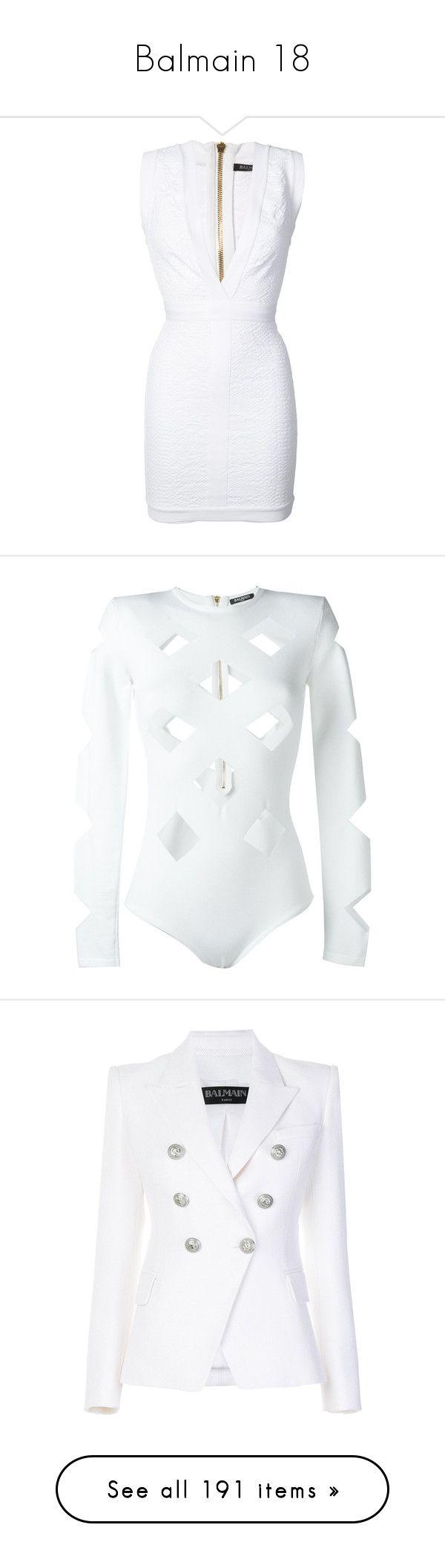 """Balmain 18"" by alyssa23 on Polyvore featuring dresses, balmain, white, v neck dress, v neck short dress, short dresses, low v neck dress, summer dresses, intimates and shapewear"