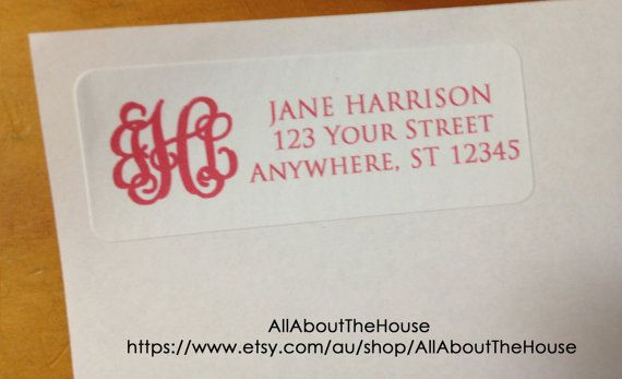 Monogram Address Label - Printable - Return Address Sticker - Avery 5160 Compatible - Personalised - Custom - DIY Printable - Digital https://www.etsy.com/au/listing/172312862/monogram-address-label-printable-return?ref=listing-shop-header-1