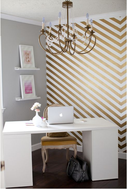 gold herringbone accent wall home office so shay home